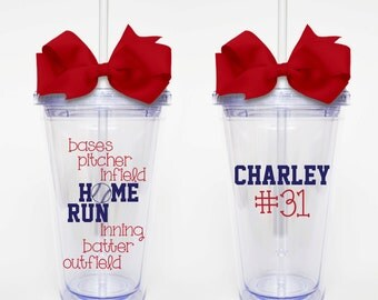 Baseball Subway Art - Acrylic Tumbler Personalized Cup