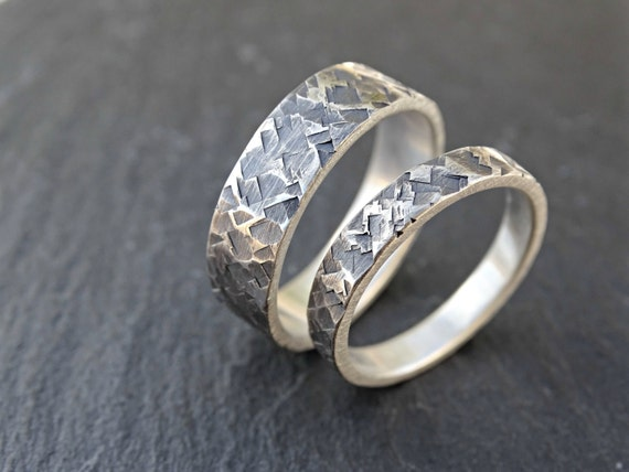 silver wedding rings unique wedding ring set square by