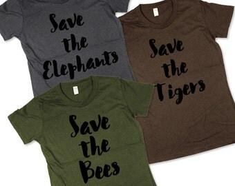 Womens Animal Shirt Pack Three Womens Organic T-shirts, ladies, Moss, Brown, Grey, Small, Medium, Large, XL, 2XL