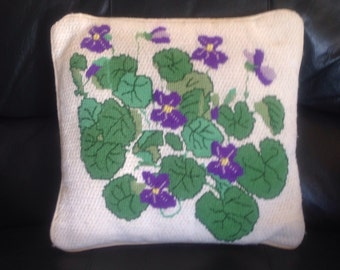 Violets Vintage Needlepoint Pillow