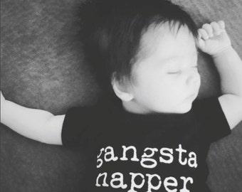 Baby Boy Onesie. Gangsta Napper Onesie, Funny Onesie, Napping Onesie, Love to nap onesie, Gangster onesie, gangsta onesie, 6m 12m 18m