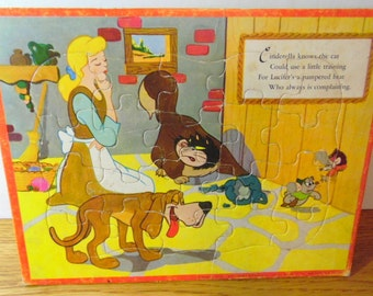 Cinderella Frame tray puzzle.  It was made by Jaymar Specialty Co. for Walt Disney Productions.  It is dated MCML, fairy tales, princesses
