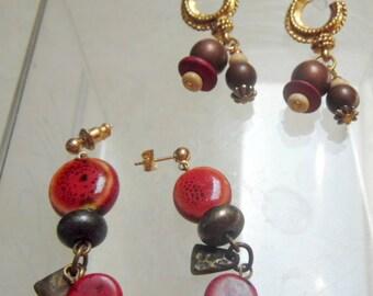 2 pair, beaded dangle earrings.  Autumn tones