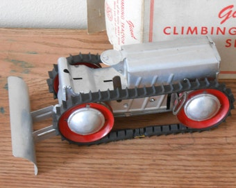 Vintage Marx Toy Tin Tractor Giant Climbing Tractor Aluminum Wind Up Louis Marx Scraper Attachment