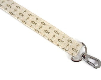 Lanyard with Christian Ichthys and Cross with Swivel Clip and Quick Release Option