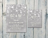 Printed Card - 50-75 Sets - Snowy Winter Wedding Invitation and Reply Card Set - Wedding Stationery - ID538