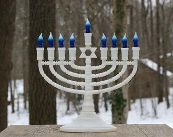 Large Vintage Electric Nine-Branch Menorah / Hanukkah, Judaica / Illuminated Menorah / Lighted Menorah