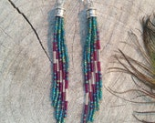 Bohemian Seed Bead Earrings, Long Fringe Earrings, Beaded Earrings, Long Seed Bead Earrings, Tassel Earrings