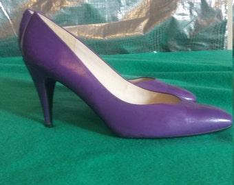 Purple leather pumps size 10