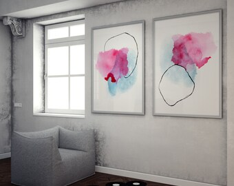 Abstract Prints in Pink and Blue. Pantone Serenity Watercolor Print Set. Colorful Abstract Painting Set. Colorfull Home Decor