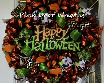 Happy Halloween wreath ONE of a KIND decor door mesh lime green orange black ribbons RTS Ready to Ship