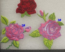 Peony Patches Rose iron on Applique Floral Fabric Embroidered Patches CD27