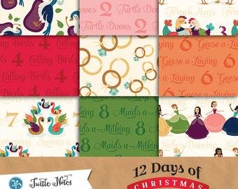 36 Twelve Days of Christmas Paper Pack : Printable Digital Scrapbook Papers