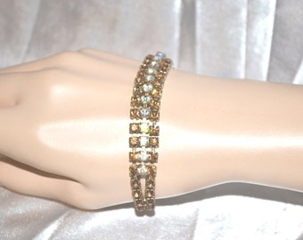 Vintage 1950s Era Bracelet of Topaz and Clear Aurora Borealis Rhinestones