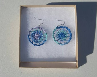 Medallion Earrings in ocean with Gift Box, accessories, circular earrings, handcrafted