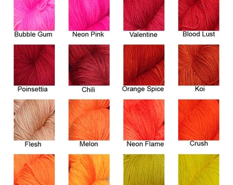 Fingering Weight - Semi Solid Pallet - 51 colors - 80/20 Superwash Merino/Nylon - Dye to Order