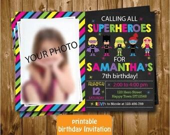 Any Age Superheroes Girls Printable 1st 2nd 3rd 4th 5th 6th 7th Birthday Invitation Colorful Superhero Chalkboard Photo Birthday Invitation