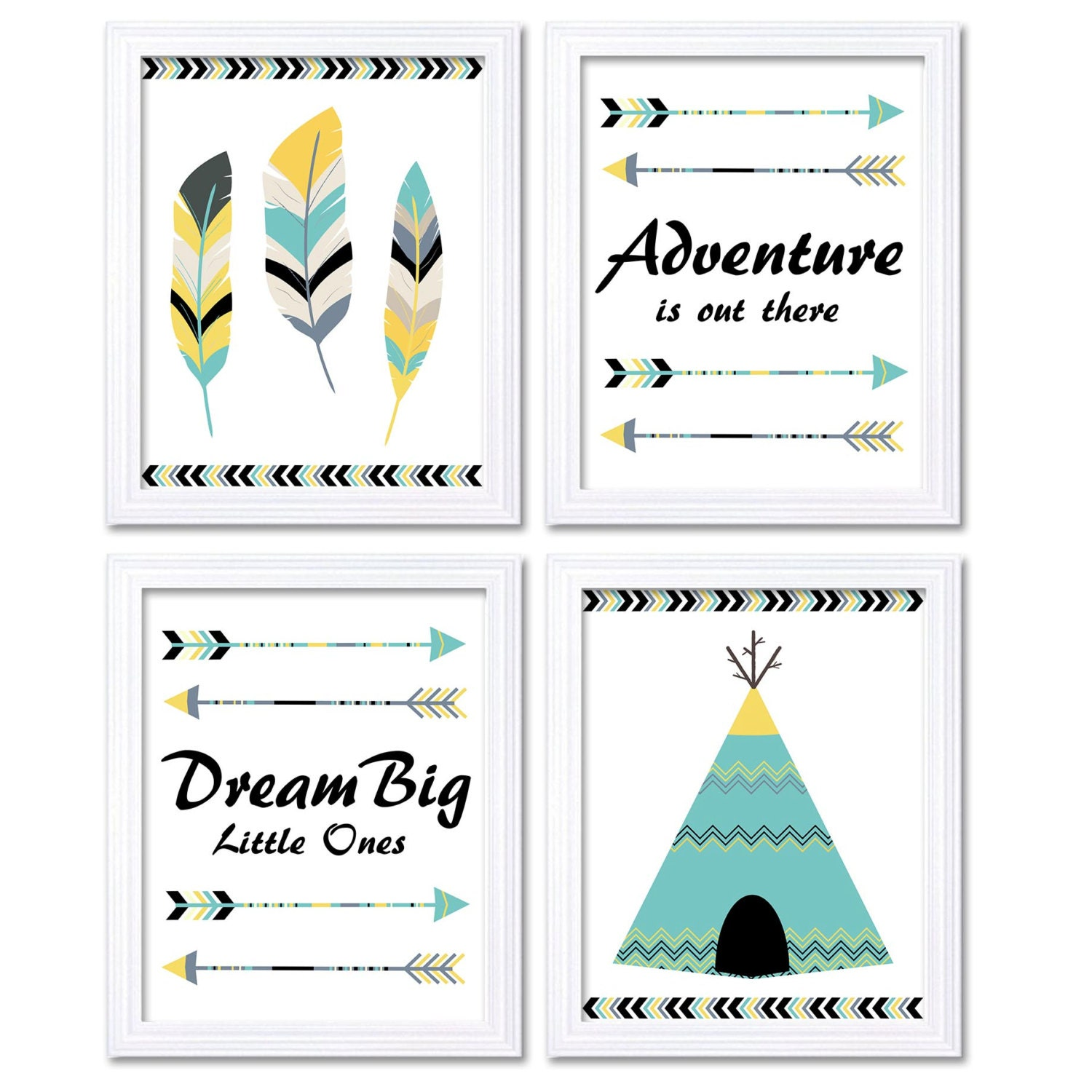 Tribal Nursery Art Print Grey Yellow Turquoise Beige Set of 4 Wall Decor Adventure is Out There Drea