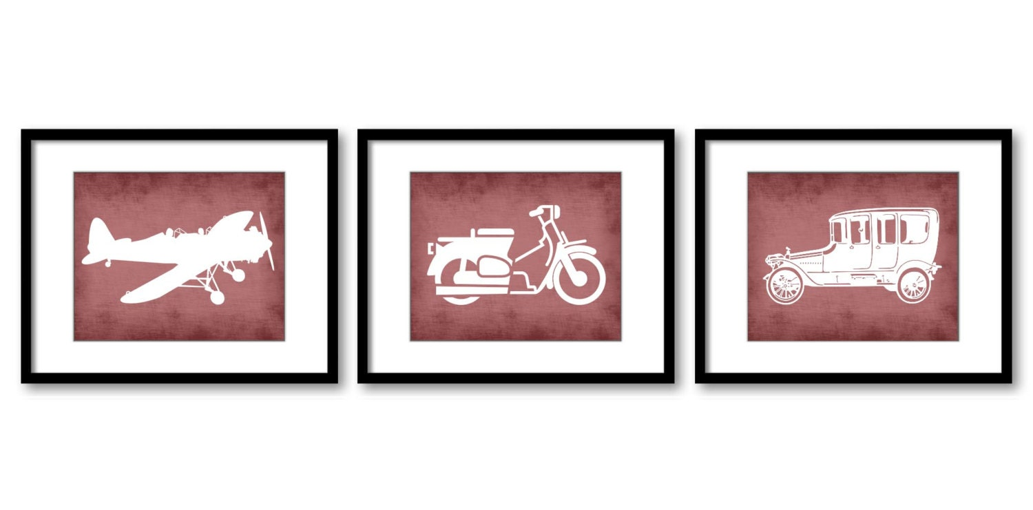Red Antique Old Vintage Transportation Set of 3 Prints Parchment Style Airplane Motorcycle Car Boy N