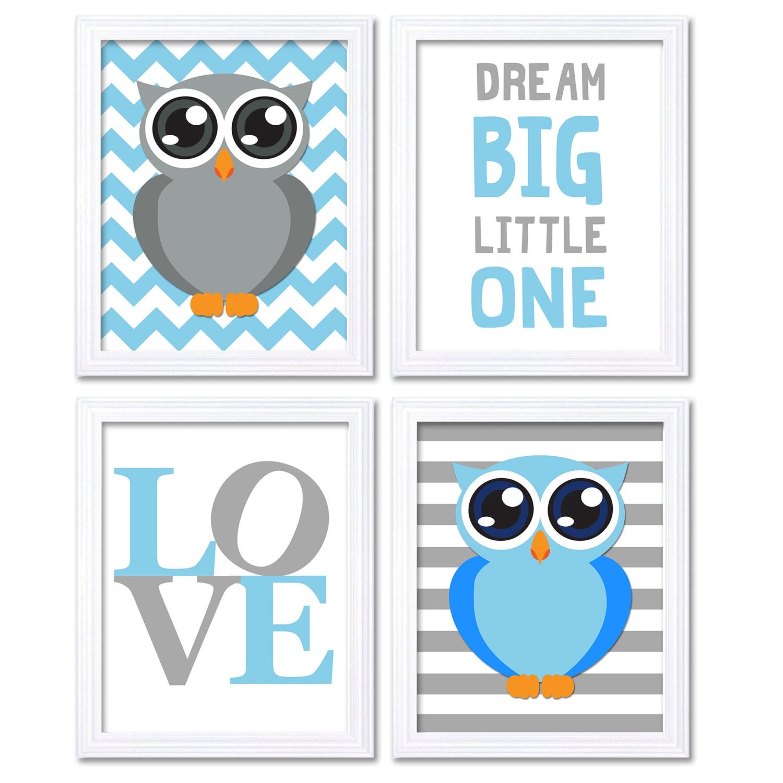 Owl Nursery Art Set of 4 Prints Blue Grey Gray Stripes Chevron Dream Big Little One LOVE Child Kids