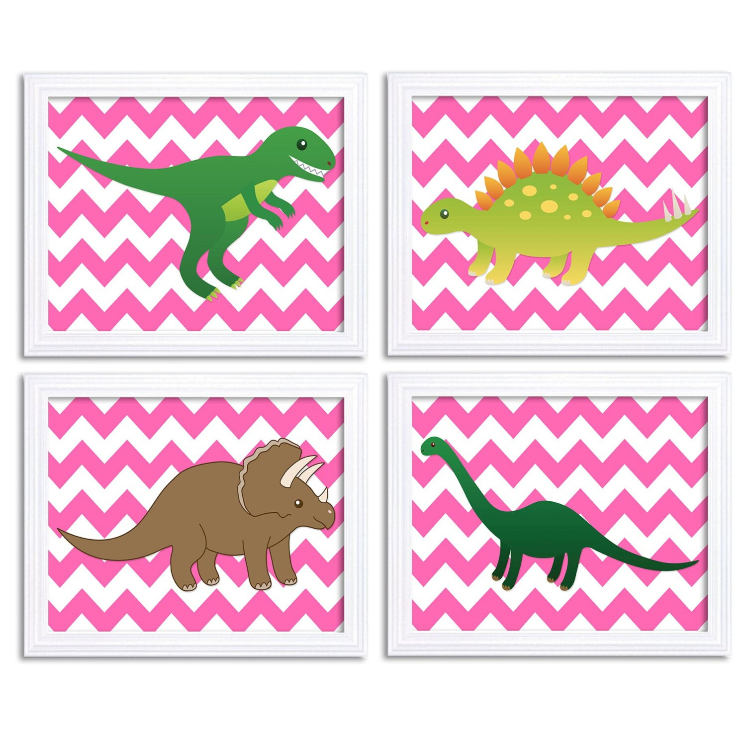 Dinosaur Nursery Art Chevron Nursery Print Set of 4 Dinosaurs Hot Pink Girl Baby Child Kids Room Chi