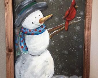 Snowman holding a cardinal, recycled, window screen, screen art