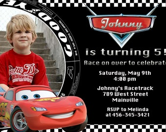 Disney Cars Lightning McQueen Birthday Party Invitation - Digital File