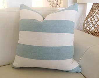 Coastal Cushions Striped Pillows Seafoam Stripes, Ecru Stripes, Denim Blue, Natural Coastal Hampton's Decor Stripes, Pillows. Cover Only.