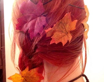 Set of 5 Assorted colorful glittery autumn leaf hair pins halloween rave hair accessories