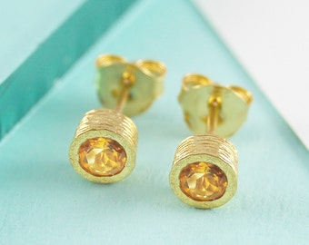 Gold Stud Earrings, Gemstone Earrings, Citrine Earrings, Handmade Earrings, November Birthstone Earrings, Yellow Stud Earrings, Dainty Studs