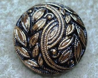 Czech Glass Button 23mm - hand painted - black, gold (B23255)