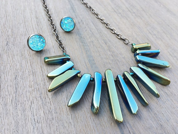 Reversible Sage + Aqua Quartz Statement Necklace // Gold, Silver or Gunmetal // Gifts for Her // Bridesmaid Gift