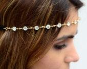 Gold Small Crystal Hair Chain Diamond Hair Jewelry Boho Festival Winter Wedding Headpiece head chain Coachella Spring Summer Headband