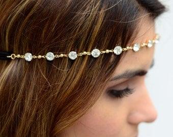 Gold Small Crystal Hair Chain Diamond Hair Jewelry Boho Festival Winter Wedding Headpiece head chain  Spring Summer Headband Christmas