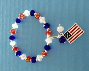 Removable Flag Dangle Patriotic Stretch Bracelet