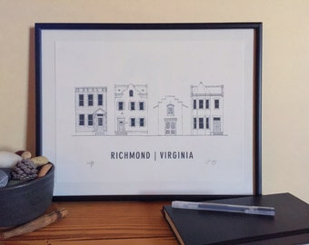 Richmond, VA Houses - Architectural Print of Historic City Homes