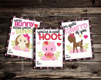 Sweet Forest Friends Valentine Cards - Instant Download - Custom Valentine's Day Digital Printable - Deer, Bunny, Owl