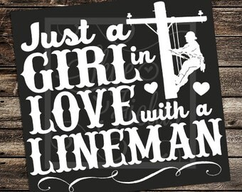 Just a Girl in Love with a  Lineman SVG, JPG, PNG, Studio.3 -Silhouette, Cameo, Portrait, Cricut, Cut File, Pole, Love