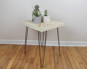 Reclaimed Rustic Hairpin Side Table