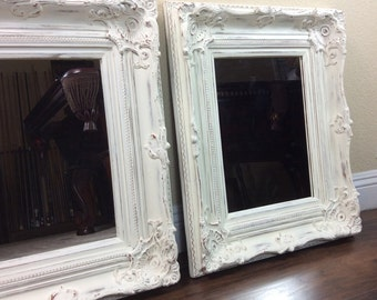"Mirrors, White Mirror, Pair Of Mirrors, 21 1/2"" by 25 1/2"", Vanity Mirrors, Different Sizes And Colors, Wood Framed Mirror, Ornate Mirror"