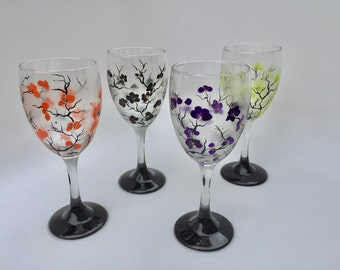 Halloween Glasses, Halloween Decor - Set of 4 - Hand Painted Wine Glasses in Halloween Colors - Ready to Ship