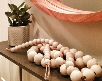 Decorative Wooden Bead Garland - Varied Bead Sizes