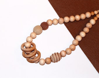 Nursing Necklace for Mom - Breastfeeding  Necklace -Teething Necklace- babywearing necklace for sling in Beige Cappuccino