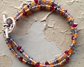 Garnet, Iolite and Citrine Bracelet