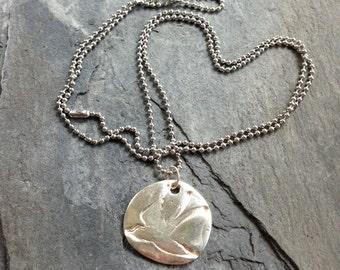 Sparrow Fine Silver Pendant PMC