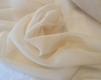 "Polyester chiffon Golden Champagne color; 45"" wide chiffon fabric priced per 1 yard"