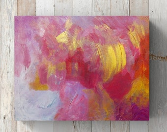 "Abstract Painting Original Acrylic Art 11"" x 14"" Pink Red Gold White Modern Fine Art Contemporary Home Decor"