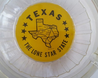 Vintage 1960's Texas Lone Star State glass ashtray, travel