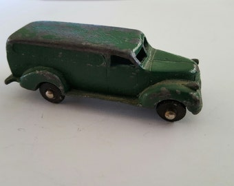 "Vintage 1950's ""Authenticast ""  panel delivery trucy, toy lead cast chippy green paint."