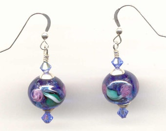 "Venetian Glass Bead Earrings with ""Monet's"" 12mm Round, Blue & Silver Foil"